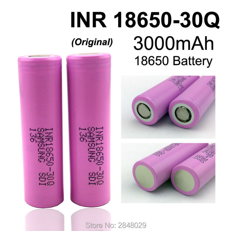 2 PC. New original for <font><b>Samsung</b></font> SDI INR18650-<font><b>30Q</b></font> 3000 mAh 18650 rechargeable lithium battery <font><b>15A</b></font> discharge power is used for elec image