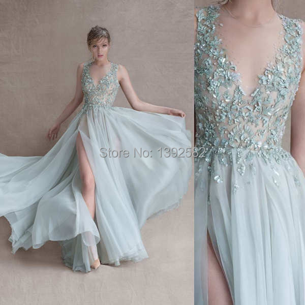 7e1f63d1c5e0 2015 Greece Evening Dresses Chiffon Svadobne Saty Appliques Slit Summer  Women Gown Boda Vestido de Noite