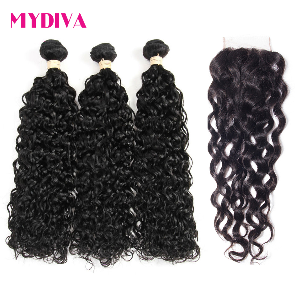 Indian Water Wave Bundles With Closure 100% Human Hair Weave 3 Bundles With Closure Non Remy Hair Extensions Mydiva