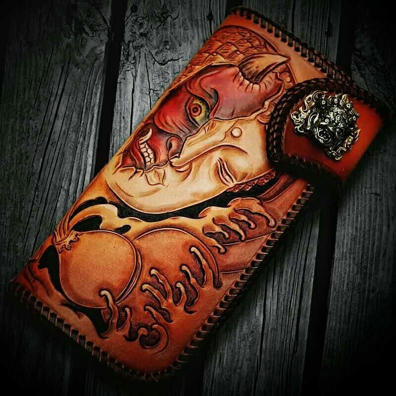 High-grade Handmade Devil and Buddha Knitting Wallets Purses Men Long Clutch Vegetable Tanned Leather Wallet Card Holder