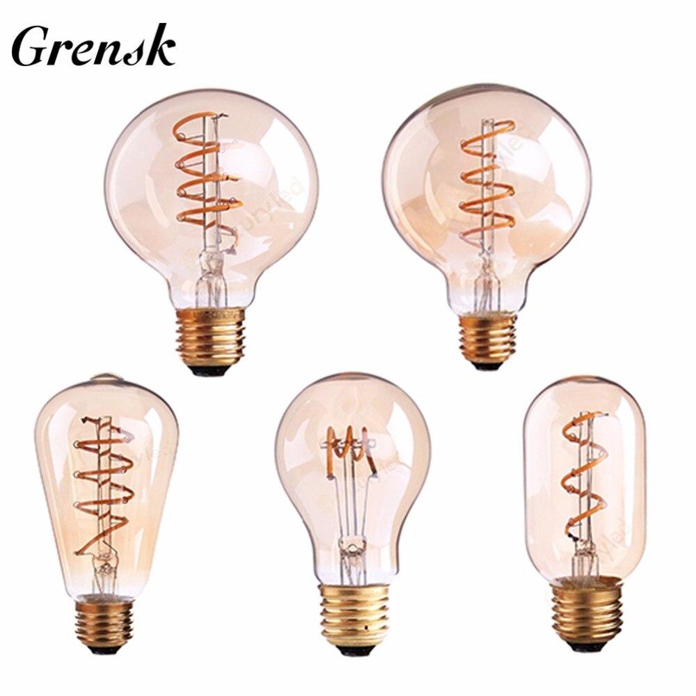 Grensk Dimmbare Led-lampen E27 220 v E26 110 v G125 Spirale Vintage Filament LED Glühbirne 3 watt Retro lampen Licht Lampara Ampulle Led