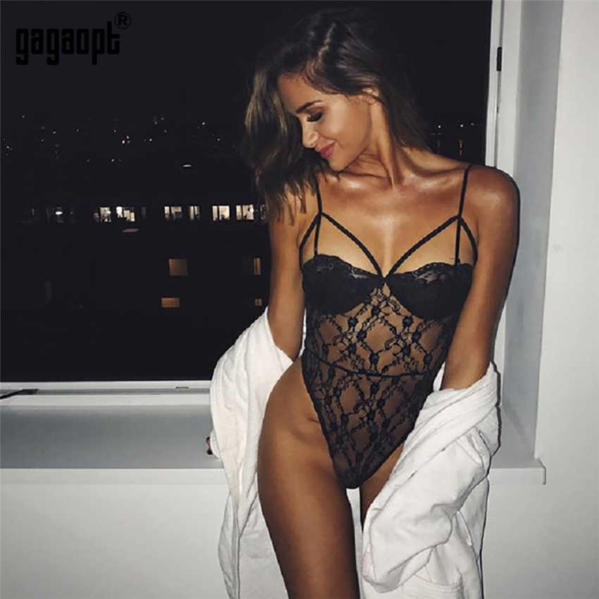 47cd5375ae Gagaopt 2018 Lace Bodysuit Women Bandage Perspective Sexy Bodysuit White Black  Bodysuit Jumpsuit Overalls Catsuit