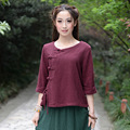 The New Women's Sticks Cotton and Linen Buckle Buckle with Improved Chinese Clothing Short Shirt