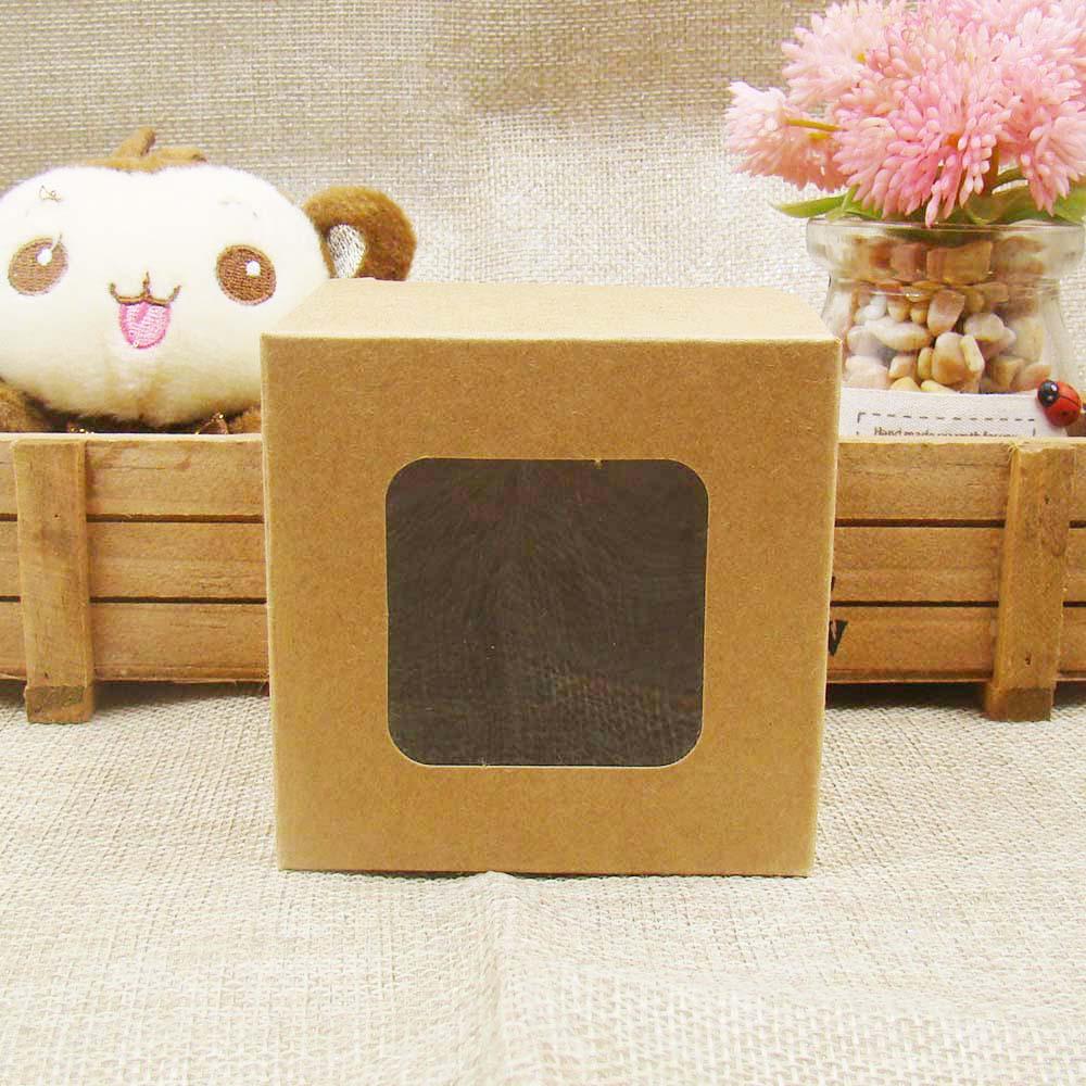 Neue 12x12x12 cm weiß/schwarz/braun lager papier box mit klar pvc fenster gefälligkeiten display/geschenke & handwerk papier fenster verpackung box pro-in Geschenktüten & Verpackungs-Zubehör aus Heim und Garten bei  Gruppe 1