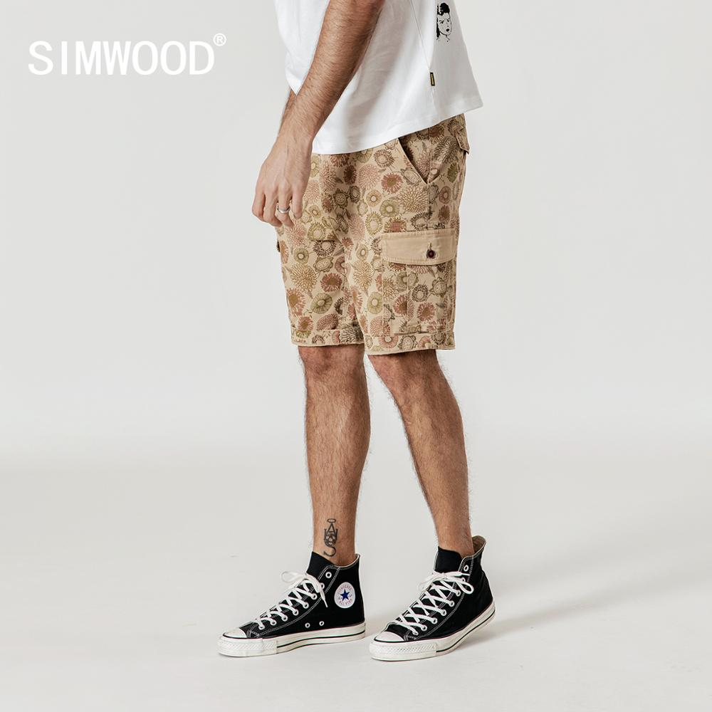 SIMWOOD 2019 summer floral   shorts   men cargo hawaii print   shorts   loose vintage plus size brand clothing 190194