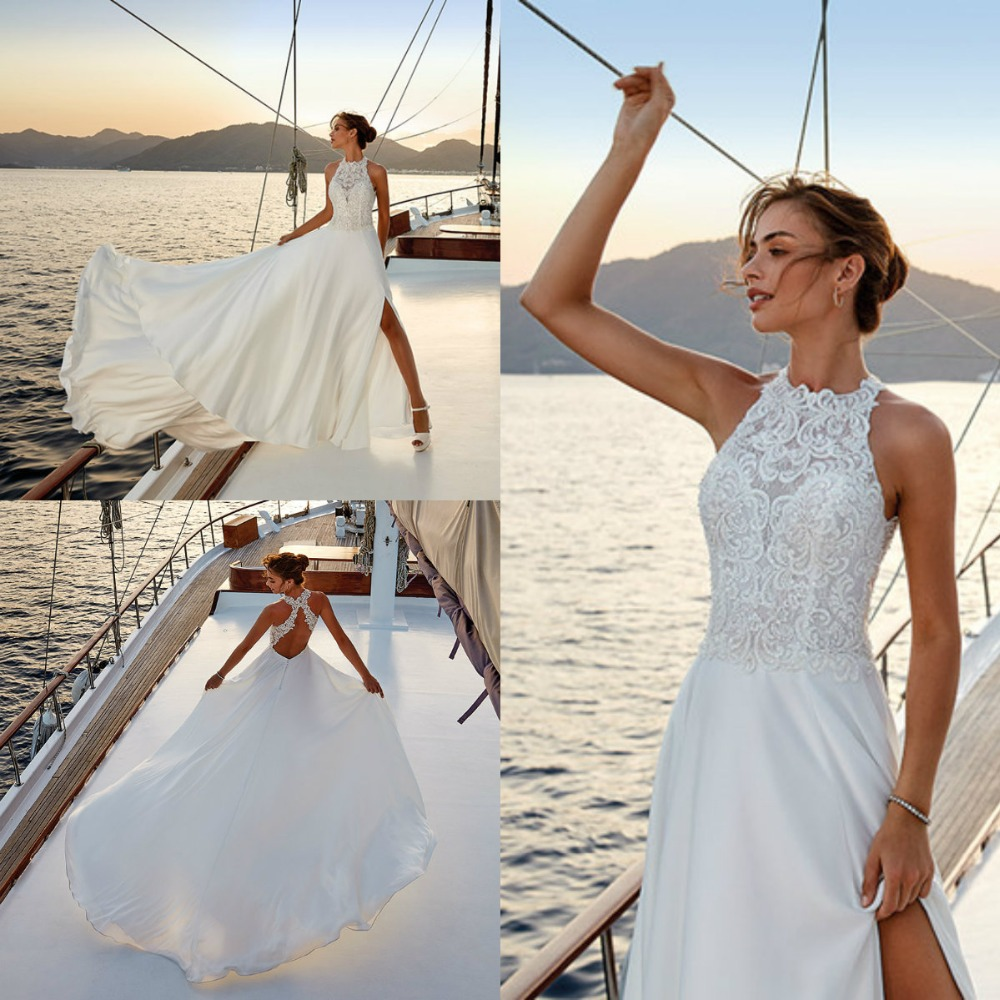 2019 A Line Wedding Dresses Jewel Sleeveless High Side Split Satin Dreams Bridal Gowns Custom Made Sweep Train Wedding Dress