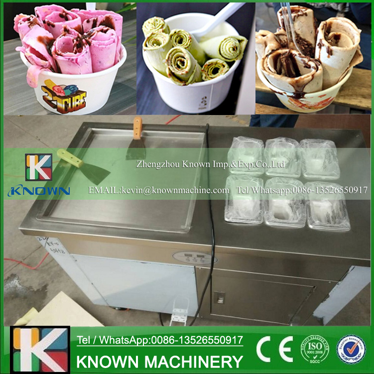 Free shipping by sea to supply the single square ice pan fried ice cream roll machine with one refrigerator and 6 cooling tanks  family car with a refrigerator for ice creams bottle drinks free shipping by sea