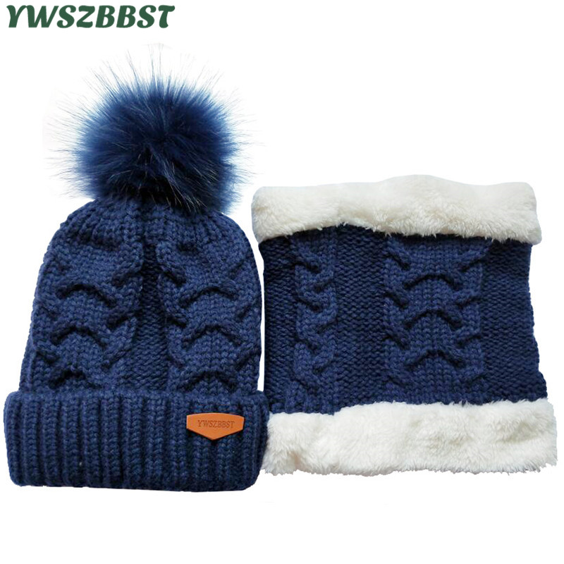 Winter Baby Hat set Plush Warm Baby Cap Scarf Infant Hat Baby Hats for Boys Girls Children Cap Scarf-Collars Women Men Caps children kids winter hat scarf set double raccoon fur ball hat pom pom beanies baby girls warm cap scarf set hat for baby girl