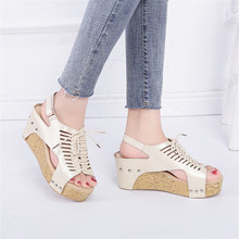 Women Sandals Breathable Beach Open Peep Toe Rome Elastic Band Casual Wedges Shoes Women Wedge Sandals Sandalia Plataforma Mujer