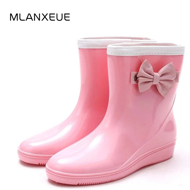 Mlanxeue Cute Bow Tie Women Rain Boots 2018 Autumn Jelly Ankle Boots