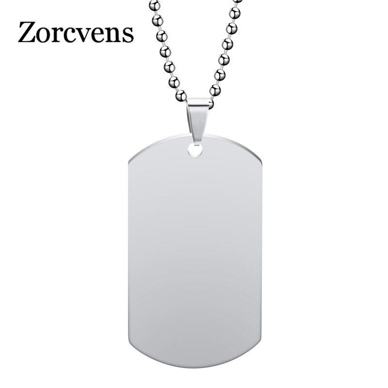 Zorcvens新ユニークなデザイナーメンズミリタリーアーミースタイル 316Lステンレス鋼犬タグチェーンメンズペンダントネックレスジュエリー