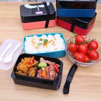 Duplo selado preservação lancheira microondas caixa de almoço portátil Colher com garfo