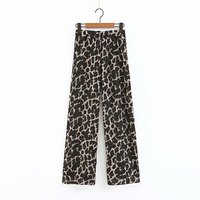 Leopard Print Patchwork Pants New Autumn Winter 2018 Elastic Waist High Wide Leg Pants Pantalon Ladies Female Women B8D502