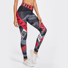 Sexy High Waist Letter Women Leggings Push Up Hip Work Out Patchwork Leggings For Female 2019 Fashion Pants Sports Run Clothes letter print cut out leggings