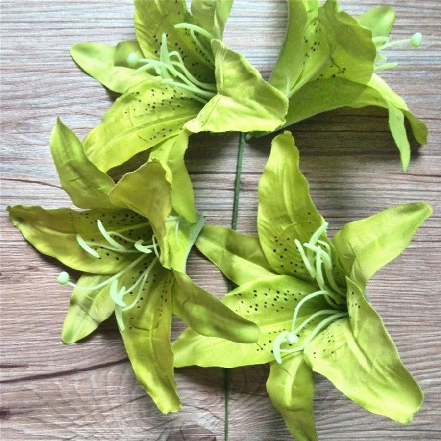 Artificial silk tiger lily head 5 lime green fabric flower artificial silk tiger lily head 5 lime green fabric flower decoration 16pcs lot on aliexpress alibaba group izmirmasajfo