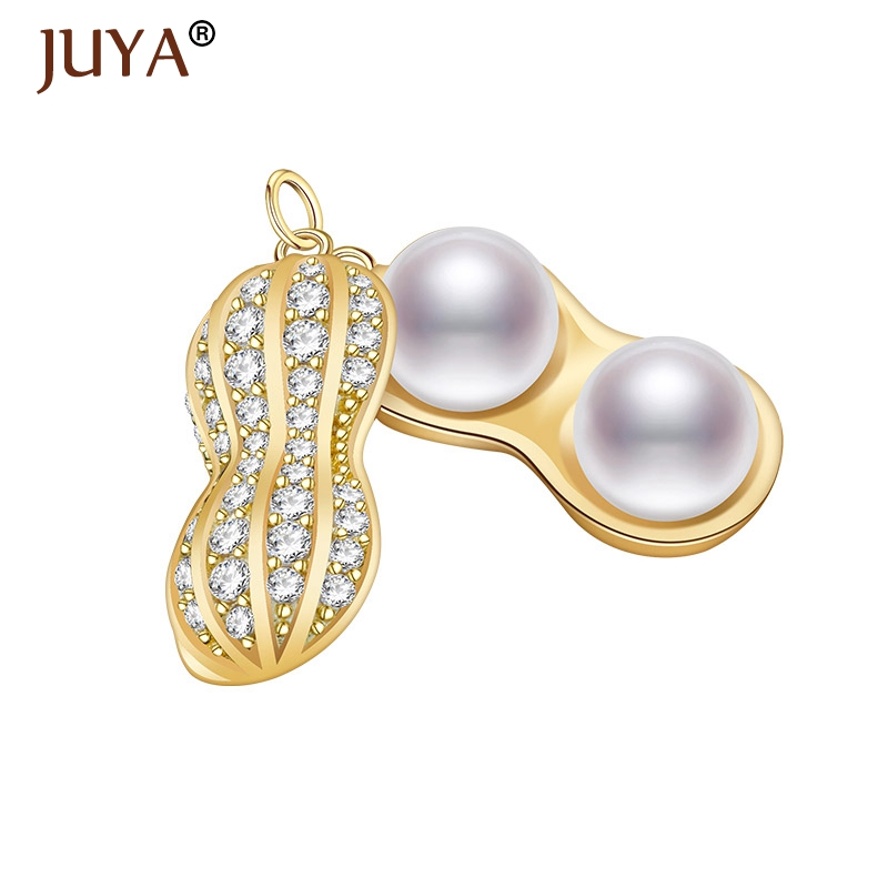 Jewelry Findings and Components Micro Pave Zircon Rhinestone Copper Metal Pearls Peanut Shape Pendant For Necklace Making DIY