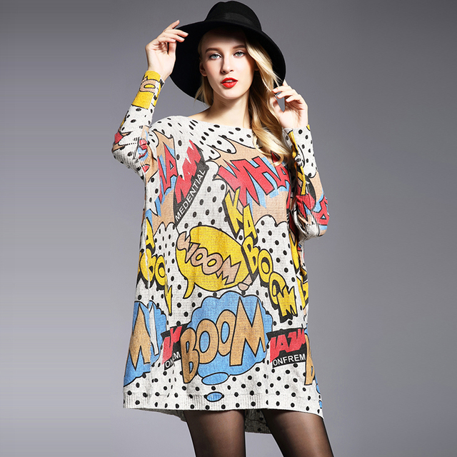XIKOI Oversize Women Sweater Casual Soft Pullover Fashion Batwing Sleeve Wave Point Print Slash Neck Knitted Pullovers Free Size 1