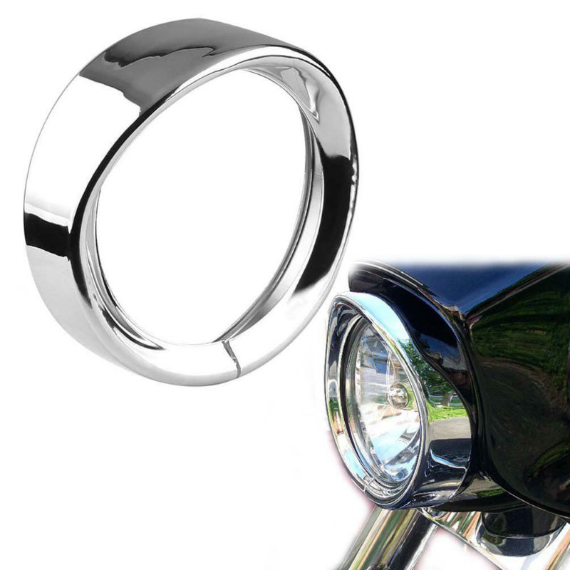7Inch Motorcycle Trim Ring, Black/Chrome LED Headlight Trim Ring Cover Bezel For Road King Electra Glide