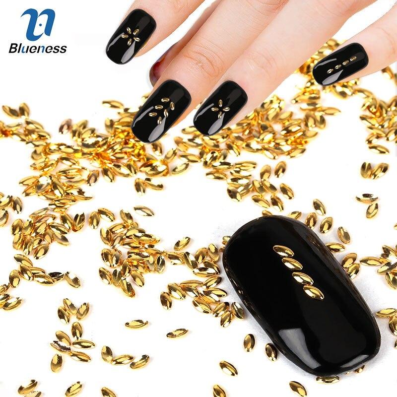 Marquise Model Copper 3d Nail Art Decorations 1000 Pcslot Gold