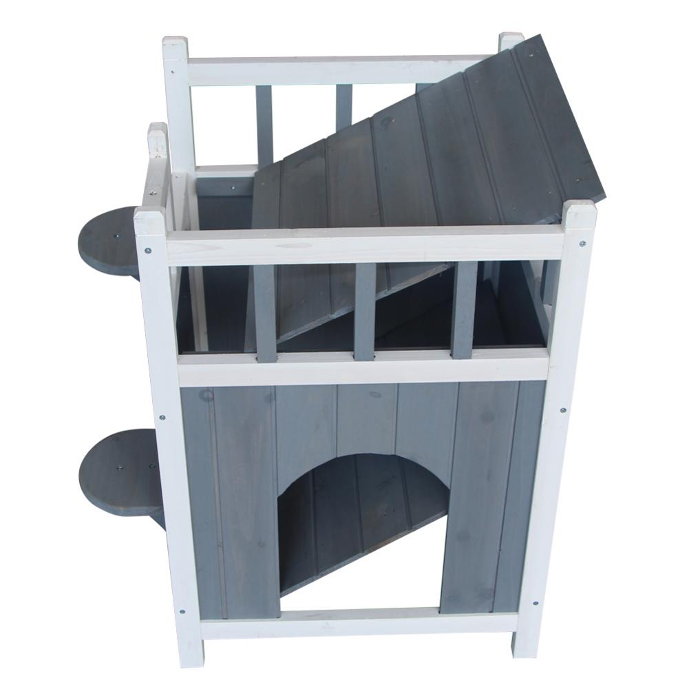 1Pcs New And High Quality Gray & White Cute Wooden <font><b>Dog</b></font> Pet Home With Balcony Durable Pet <font><b>House</b></font> Small <font><b>Dog</b></font> Indoor <font><b>Outdoor</b></font> Shelter image