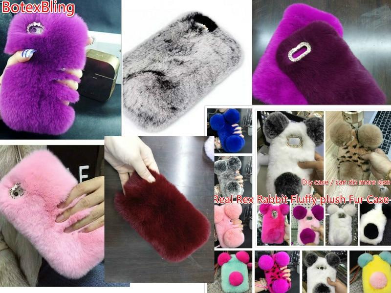 BotexBling Cute PANDA Rex Rabbit fur phone case For LG 2017 K8 k4 k10 cover DIY fluffy plush Diamond For LG V20 warm fur case