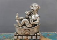 משלוח כסף ברונזה לבן המשמח הסינית העממי Fengshui YuanBao Ruyi פסל קוף מהיר