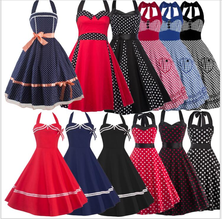 Vintage Rockabilly Dresses Women 60s Party Floral Print Dress Pinup Swing Audrey Hepburn dress 2017 dress femininos