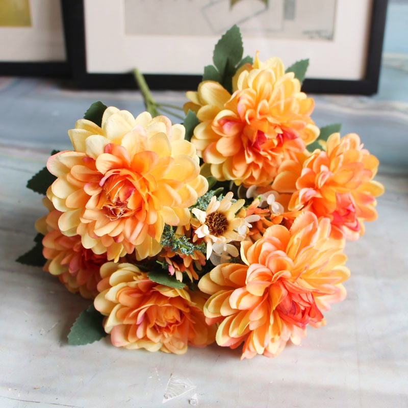 Artificial Flowers Fake Flowers 10 Heads Gerbera Daisy Flowers     Artificial Flowers Fake Flowers 10 Heads Gerbera Daisy Flowers Marigold  Bouquet for Home Garden Office Wedding Decor Pack of 1 in Artificial    Dried Flowers