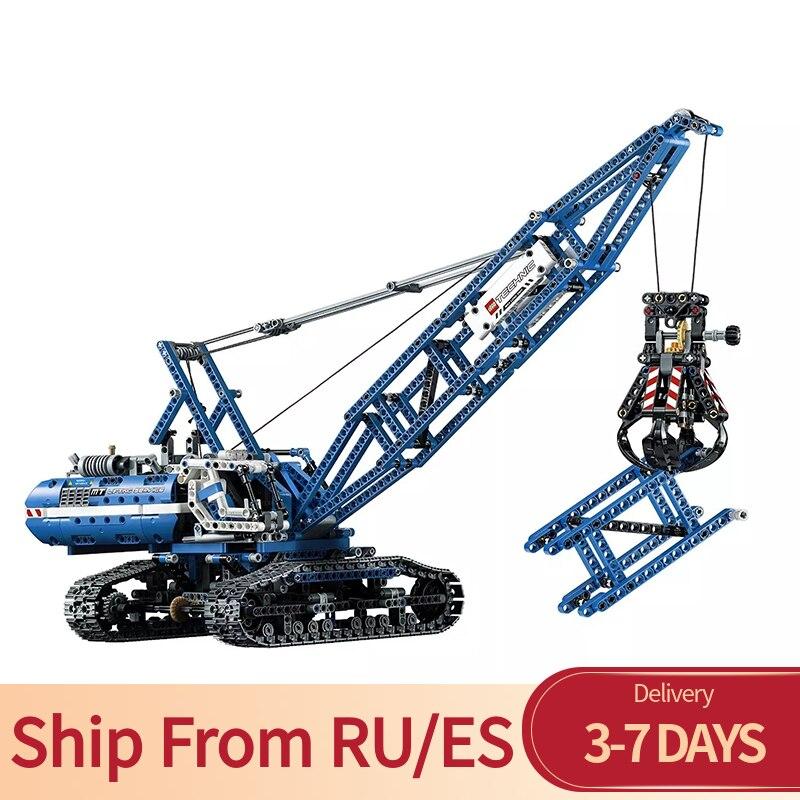 Block Technic Series Truck Motor Motorized Crawler Crane 1401Pcs Bricks Building Blocks Toy For Children Technics