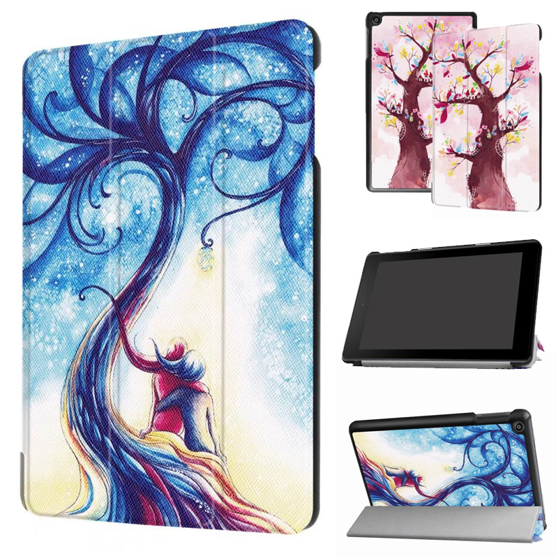 Beautiful Case For Amazon New Kindle Fire HD 8 2017 8.0 PU Leather Magnet Smart Stand Cover Case For New Amazon Fire HD8 2016