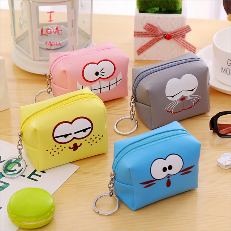 Women Cartoon Coin Purse PU Leather Square Lady Wallet Girl Change Pocket Pouch Zipper Bag Keys Case