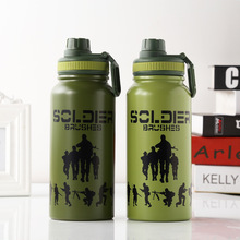800ML Creative camouflage Green water bottle with tea infuser Travel Double wall Vacuum Thermos bottles