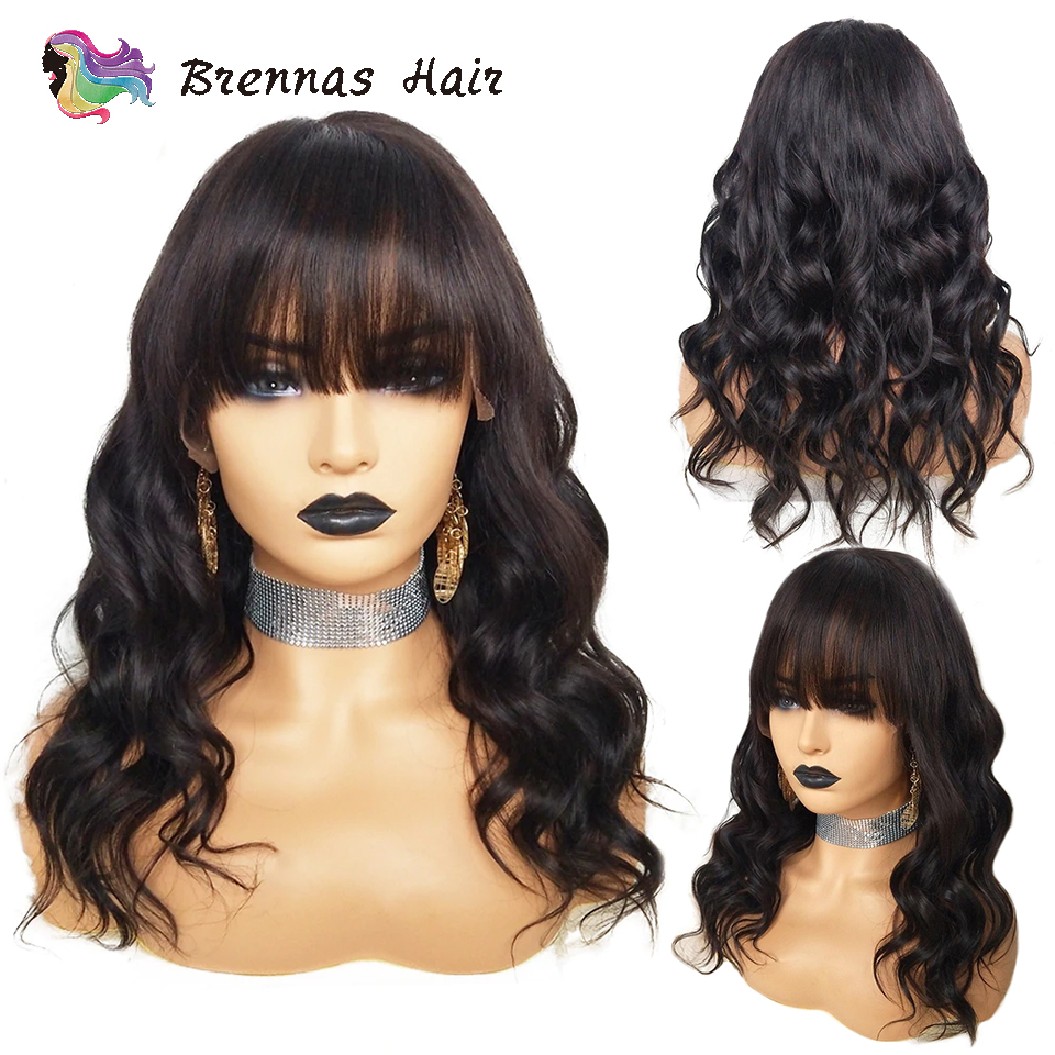 Body wave lace front wig with bangs bleached knots Brazilian lace front human hair wigs body