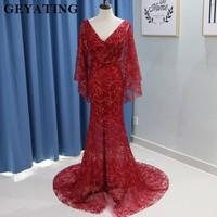 Elegant Wine Red Long Mermaid Evening Dress with Cape Lace V-Neck Backless Side Split Prom Dresses 2018 Sparkle Arabic Vestidos