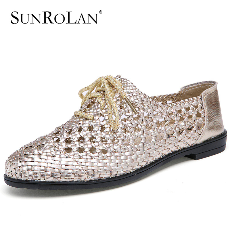 ФОТО SUNROLAN 2017 New Fashion Spring Women Shoes Genuine Leather Cut out Flat Lace up Soft Shoes Woman Loafers Round Toe ShoesZY9988