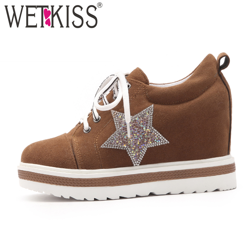 WETKISS New Casual Fashion Ladies Flats Round Toe Bling Shoelaces Wedges Footwear Spring Platform Sneakers Women Elevator Shoes