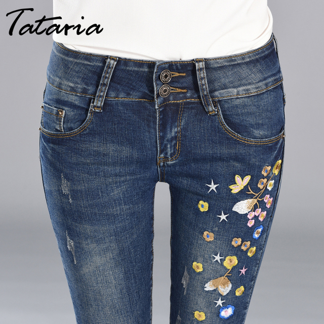 Denim Women's Skinny Jeans with Embroidery Stretch Female Jeans Pants Trousers Women Slim Embroidered Jeans for Woman 2019