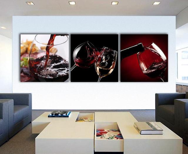 Pintura Para Salas Y Cocinas : Paneles copas de vino pinturas para la cocina decoración de la