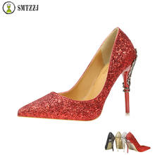 Silver Red Black Women Bridal Wedding Shoes Rhinestone Crystal Shallow Woman Pumps Stiletto High Heel Fashion Elegant shoes