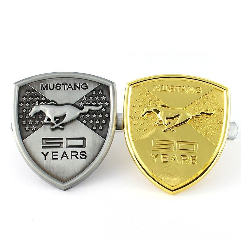 3D Horse 50 Years Aluminium Allloy Souvenir Emblem Car Styling Front Hood Grille Sticker for Ford Mustang Shelby Silver/Golden