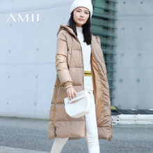 Amii 2017 зима тенденции дамы Повседневное свободные 90% белая утка Пух колена длинная куртка пальто с обеих сторон полосатый деталь