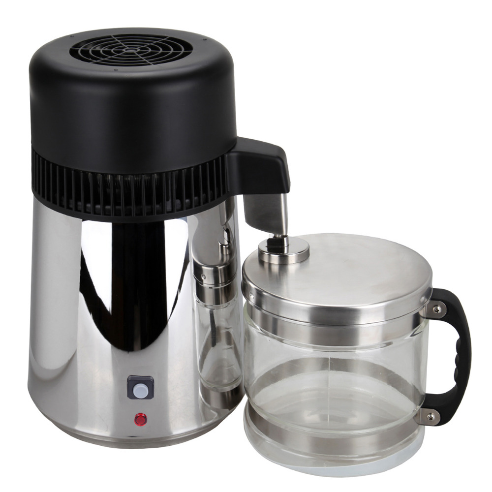 High Quality 4L Pure Water Stainless Steel Water Distiller Purifier Body Filter with Glass Jar - 6