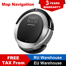 Купить с кэшбэком LIECTROUX Robot Vacuum Cleaner B6009  water tank Map&Gyroscope wet&dry Navigation Memory brush Virtual Blocker UV Lamp Mop Lion