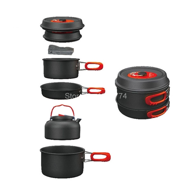 Alocs 7pcs Fold Handle Camping Cook Sets Portable Kitchen Pots Cover The Pan Set Pentole
