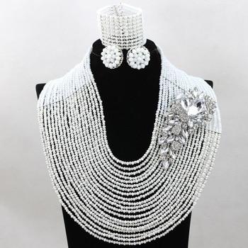 Splendid White African Wedding Bridal Jewelry Nigerian Chunky Costum Lady Party Beads Jewelry Celebration Present Set Gift QW366