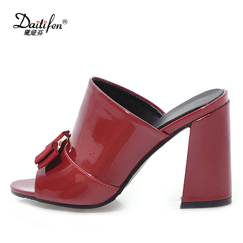 Daitifen Italian Summer Footwear Women High Heels Slippers Mature Peep Toe Black Slipper Shoes -4068