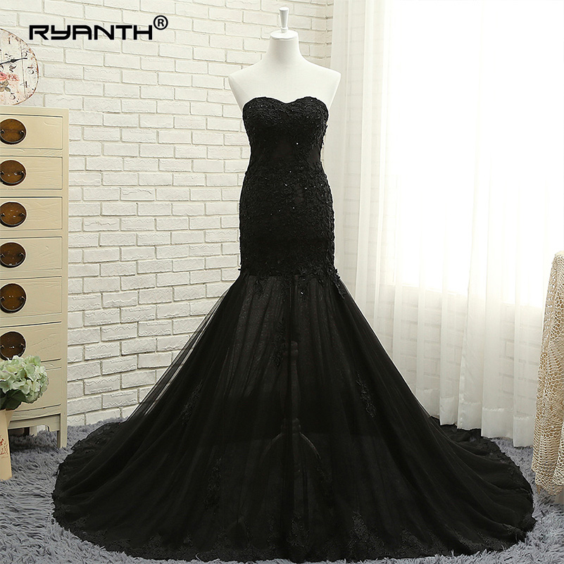 Ryanth Black Tulle Mermaid Evening Dresses Elegant Long Strapless Illusion Formal Evening Gown Robe De Soiree Real Photo