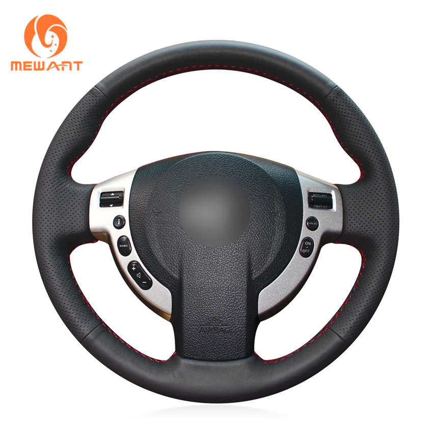 MEWANT Black Artificial Leather Car Steering Wheel Cover for Nissan Qashqai 2007-2013 Rogue 2008-2013 X-Trail 2008-2013 NV200 artificial leather car steering wheel braid for nissan teana altima 2013 2016 x trail qashqai rogue custom made steering cover