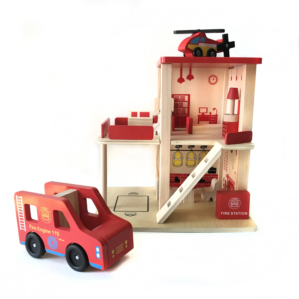 Fire station wooden track train toy combination toy Variety Thomas track scene game component children's educational toys