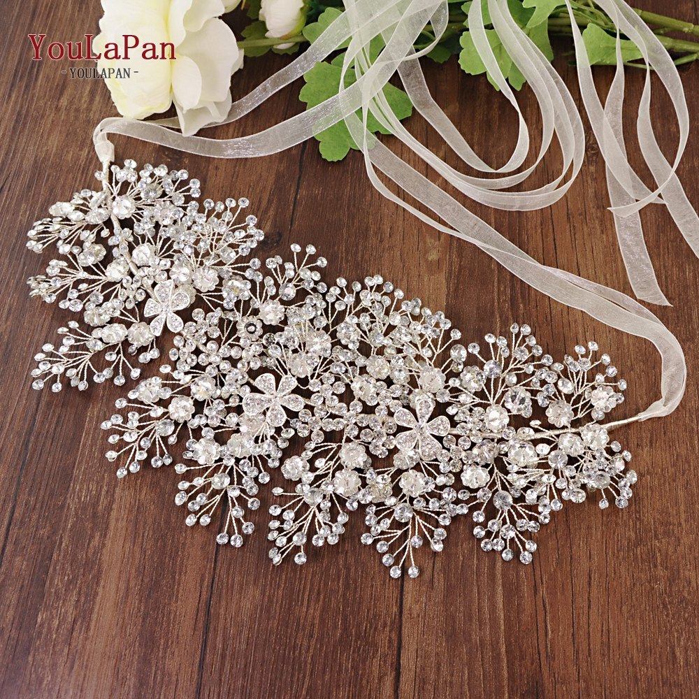 Image 2 - YouLaPan SH240 rhinestone belt bridal jeweled belt for formal dress Sliver diamond belt Alloy flower crystal beaded belts-in Bridal Blets from Weddings & Events